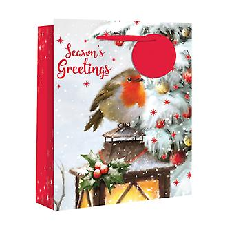 Eurowrap Christmas Gift Bags with Traditional Robin Design (Pack of 12)