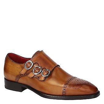 Leonardo Shoes Męskie i apos;ręcznie trzyosobowe buty mnichów z jasnobrązowej skóry