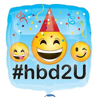 Anagram 18 Inch Square Emoji Design Foil Happy Birthday Ballon