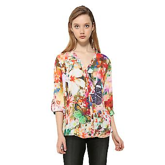 Desigual Women's Multicoloured Pixel Print Sol Shirt