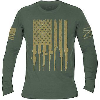 نورت نمط بندقية العلم طويل الأكمام تي شيرت - الأخضر