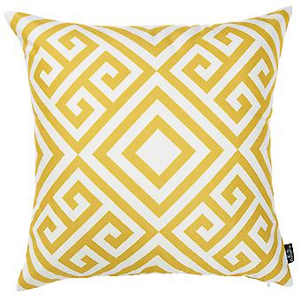 Yellow and White Printed Decorative Throw Pillow Cover