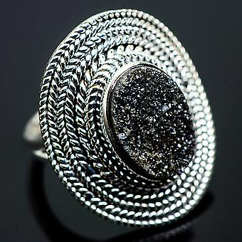 Large Black Druzy Ring Size 6.25 (925 Sterling Silver)  - Handmade Boho Vintage Jewelry RING990690