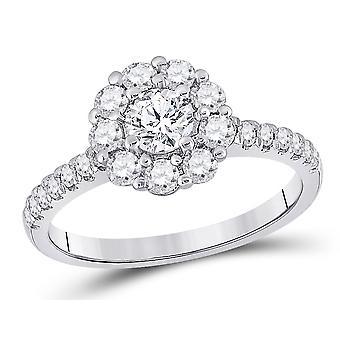 1.00 Carat (ctw G-H, I1-I2) Halo Diamond Engagement Ring in 14K White Gold