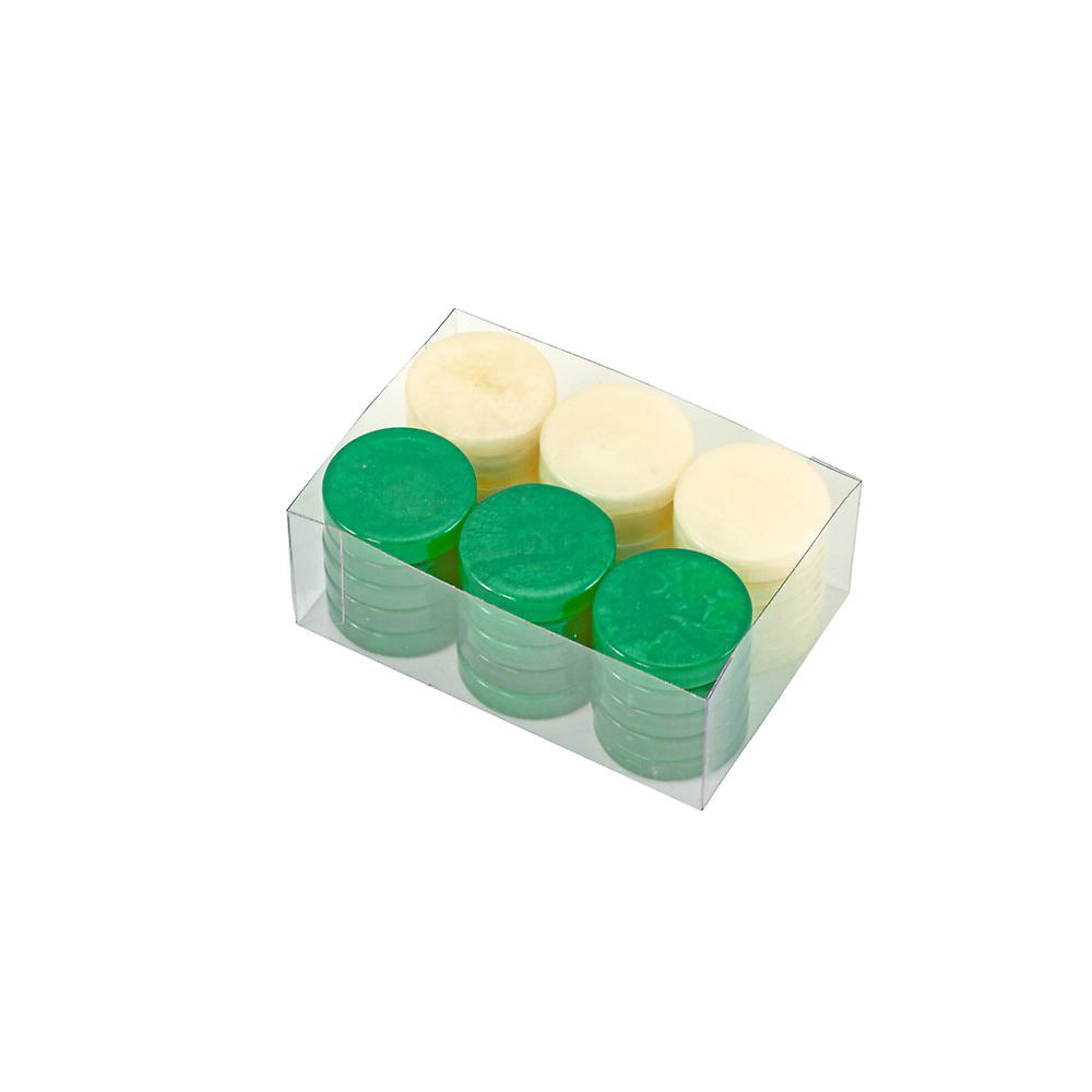 Backgammon Stones in Green & Ivory 26mm