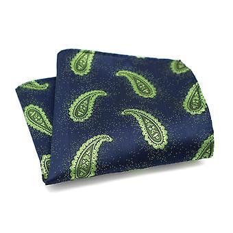 Vihreä Paisley & tummansininen kaksivärinen pyörre tasku neliö
