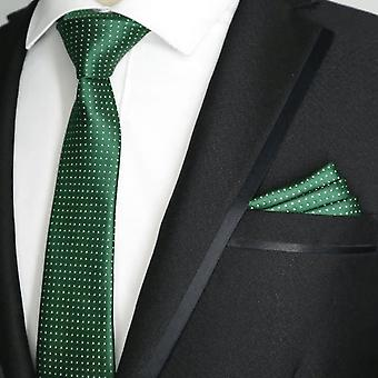 Racing green & oat skinny slim tie & pocket square set