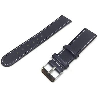 Calf leather watch strap navy blue calf leather round ended chrome buckle size 12mm to 18mm