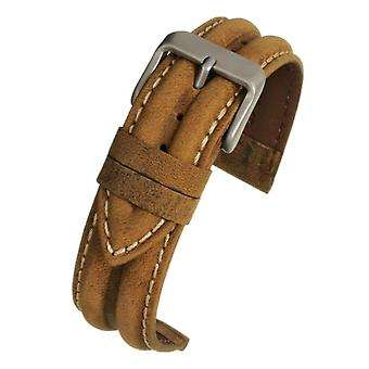 Calf leather watch strap light brown water resistant