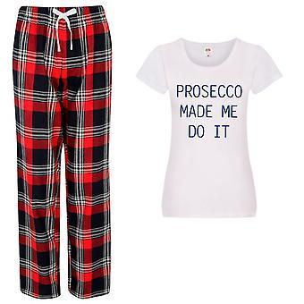 Signore Prosecco fatto Me Do It Tartan Pantaloni Pigia