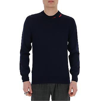 Alexander Mcqueen 603241q1wyd4163 Hombres's Suéter de lana azul