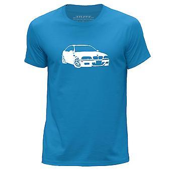 STUFF4 Men's Round Neck T-Shirt/Stencil Car Art / M3 E46/Blue