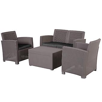 Four-piece Outdoor Dining Set Rattan Look w/ 2 Chairs Sofa Table Padded Seats Garden Furniture Patio Balcony Grey