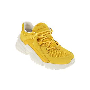 Salvatore Ferragamo 035616726301 Damen's Yellow Fabric Sneakers