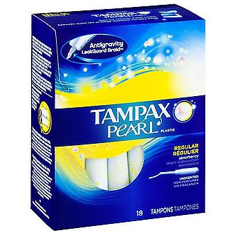 Tampax pearl tampons with pearl plastic, unscented, regular, 18 ea