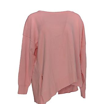 Attitudes by Renee Women's Sweater Asymmetric Knit Pink A375598