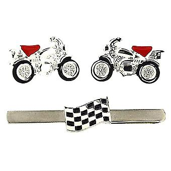 Thomas Brown Gents Chequered Flag Tie Bar & Motorbike Cufflinks In a Gift Box TB439901