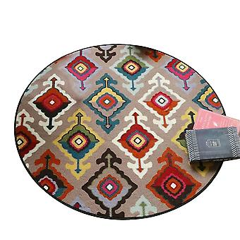 Decorative red geometric figure flannel rug, easy to clean and fade-proof super soft, round carpet in living room and living room