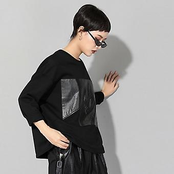 Long Sleeve Patchwork Oversized Tops