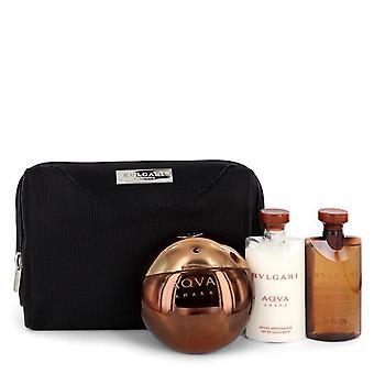 Bvlgari Aqua Amara Gift Set por Bvlgari 3,4 oz Eau de toilette spray + 2,5 oz depois de barba bálsamo _ 2,5 oz gel de banho