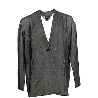 J. Jill Women's Petite One-Button Blazer Charcoal Gray