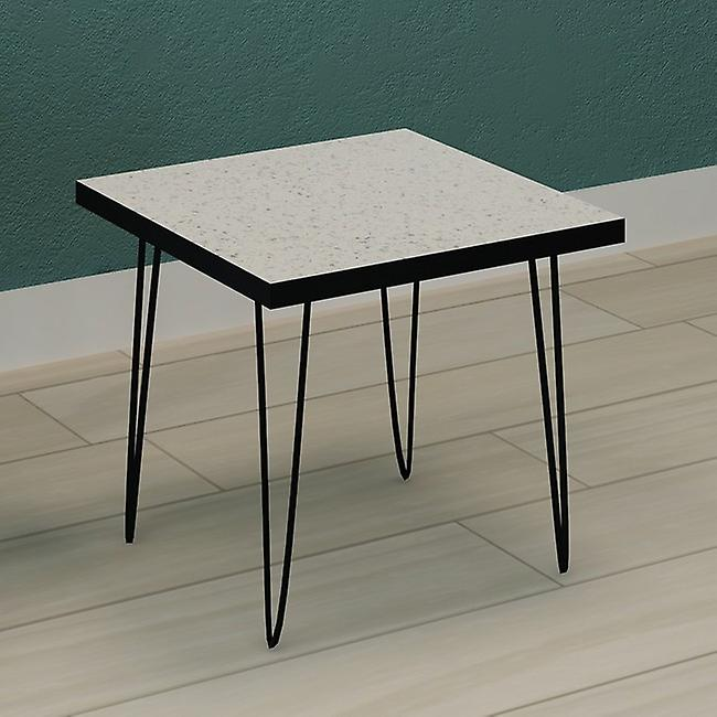 Tavolino Da Caffe' Tayla Colore Bianco, Nero in Truciolare Melaminico, Metallo, L48xP48xA43 cm