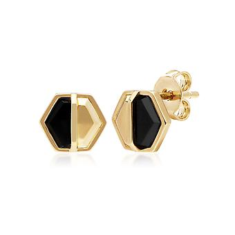 Micro Statement Onyx Hexagon Stud Earrings in Gold Plated Sterling Silver 270E027501925