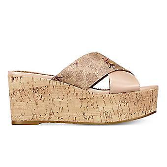 Coach Women's Shoes Leather Peep Toe Casual Slide Sandals