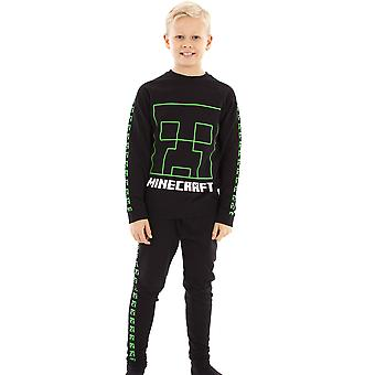 Minecraft Tracksuit Creeper Boys Black Jogging Bottoms and Sweatshirt Set