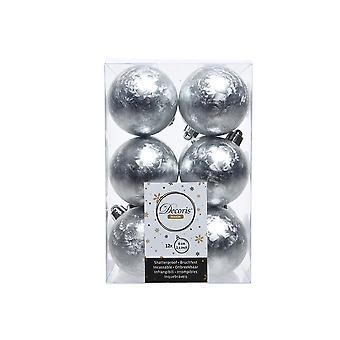 12 Frosted zilver 6cm Shatterproof kerstboom bauble decoraties