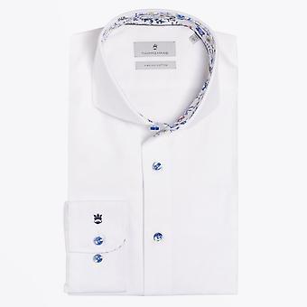 Thomas Maine  - Mini Floral Trim Insert Shirt - White