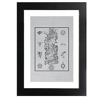 Game Of Thrones War For Westeros Map Dark Framed Print