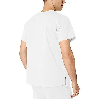 Essentials Men's Quick-Dry Stretch Scrub Top, Wit, Groot