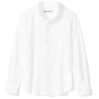 Essentials Little Boys' Long-Sleeve Uniform Oxford Shirt, White, S (6-7)
