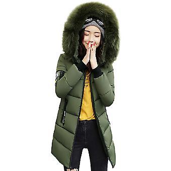Femmes Slim Midi Faux Fourrure Trim Hooded Puffer Parka Bubble Coat