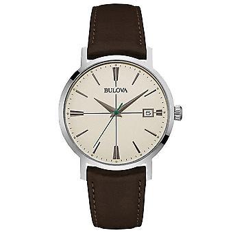 Bulova Watches 96b242 Areojet Silver & Dark Brown Leather Men's Watch