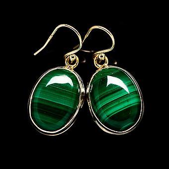 """Malachit Kolczyki 1 3/8"""" (925 Srebro) - Ręcznie boho vintage biżuteria EARR404441"""