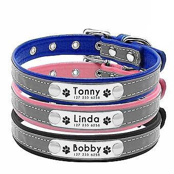 Airuidog Personalized Dog Collar Reflective Leather Id Name Custom Engraved Puppy