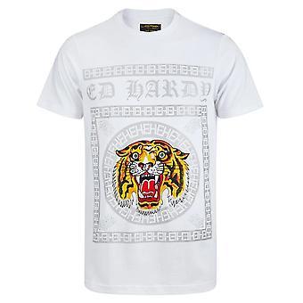 Ed Hardy   Tiger Tile Print Half Sleeve T-shirt
