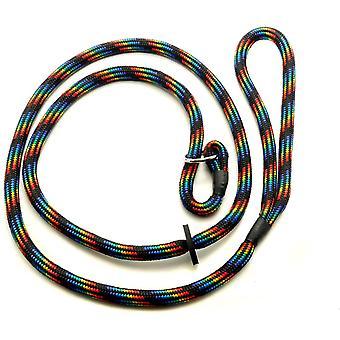 Kjk Ropeworks Braid Slip Lead With Rubber Stop (8mm x 150cm) - Black Rainbow