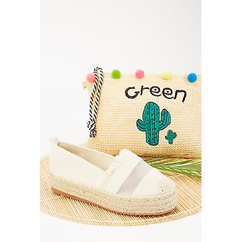 Mesh Insert Textured Espadrille Shoes