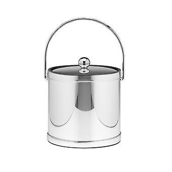 Mylar Polished Chrome 3 Qt. Ice Bucket W/ Bale Handle, Bands & Metal Cover