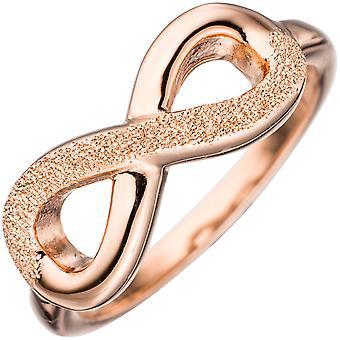 Damen Ring Unendlichkeit 925 Silber rotgold vergoldet mit Struktur Silberring  Größe:58