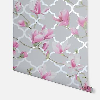908000A - Magnolia Trellis Cinza & Pink - Arthouse Wallpaper