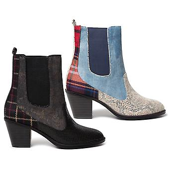 Desigual Chelsea Patch Medium Heel Ankle Boots Blue Denim /Black AW20 20WSTA01