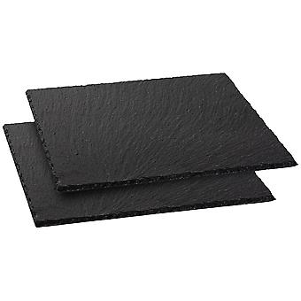 2 Piece Slate Square Serving Tray/Platter Set - Medium Farmhouse Style Hand Cut Slate Edge