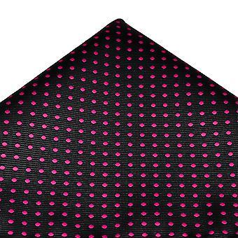 Krawatten Planet schwarz & Fuchsia rosa Polka Dot Tasche Platz Taschentuch