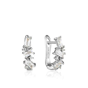 Ania Haie Sterling Silver Rhodium Plated Cluster Huggie Earrings E018-03H Ania Haie Silver Silver Rhodium Plated Cluster Huggie Brincos E018-03H