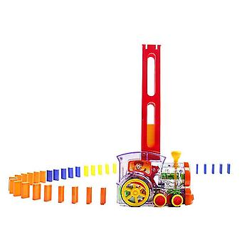 Car Truck Vehicle Automatic Building Domino Train With Lights And Musical Sound Gift Toy For Kids