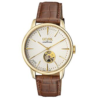 Gevril Men's 9603 Mulberry IPYG Automatic Silver Dial Brown Leather Wristwatch